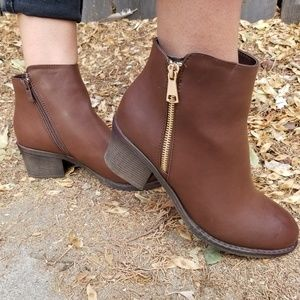 Shoes - Brown Vegan Ankle Booties Boots W/ Gold Zipp